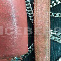Восстановление красной кожаной сумки