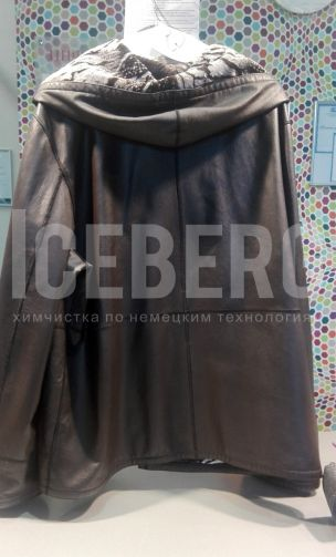 Женская кожаная куртка после покраски в химчистке ICEBERG