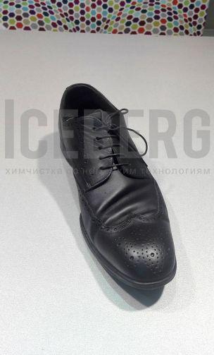 Мужские кожаные туфли после покраски в химчистке