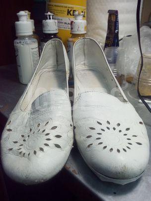 Восстановление белых кожаных балеток