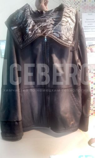 Женская кожаная куртка до покраски в химчистке ICEBERG